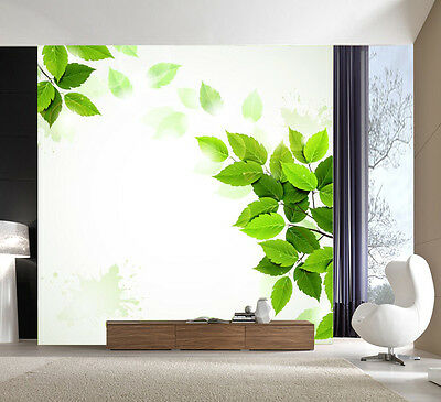 3D Fresh Green Leaves Wall Paper wall Print Decal Wall Deco Indoor wall Mural