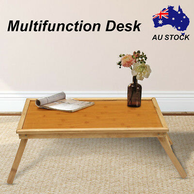 Wooden Bamboo Bed Tray Breakfast Laptop Desk Tea Serving Foldable Table Stand