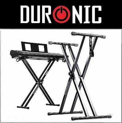 Duronic KS2B Black Height Adjustable Twin X Frame Steel Piano Keyboard Stand UK