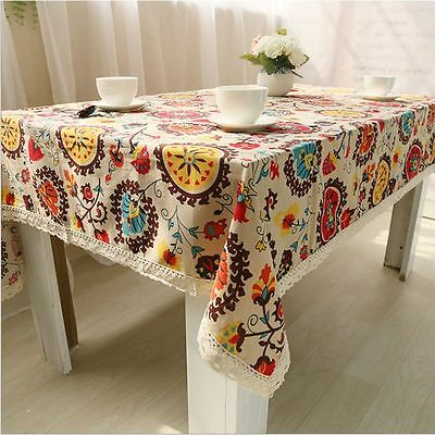 Party Dinning Tablecloth Cotton&Linen Table Cover Runner Square & Rectangular