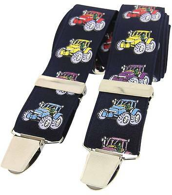 David Van Hagen Tractor Classic Country Braces - Navy/Multi-coloured