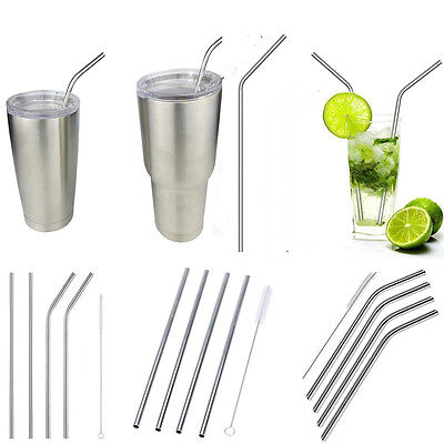 """4/8x10.5"""" Long Reusable Stainless Steel Drinking Straws Metal For 20/30 Oz"""