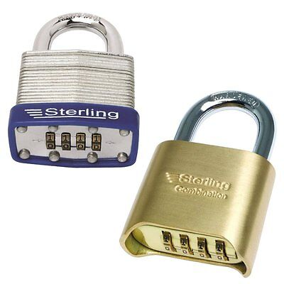 STERLING COMBINATION PADLOCK 4 Dial High Security Resettable Code Steel Brass