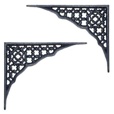 Antique Cast Iron WALL BRACKET PAIR Book Shelf Toilet Cistern Support LATTICE