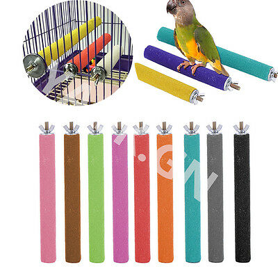 Colorful Pet Bird Parrot Chew Toys Paw Grinding Cage Stand Perches Budgie 18cm