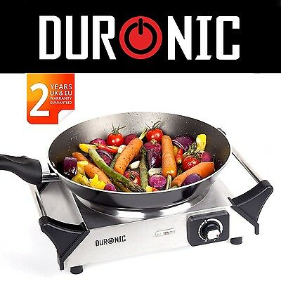 Duronic HP1SS 1500W Stainless Steel Single Portable Hob Camping Cooker Hot plate