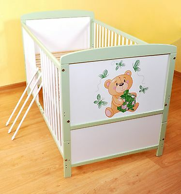 NEW WHITE-GREEN 2in1 COT-BED 120x60 no 20 - RRP 129,00 GBP