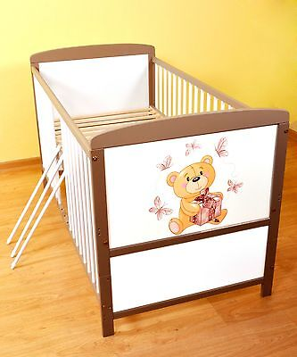 NEW WHITE-BROWN 2in1 COT-BED 120x60 no 42 - RRP 129,00 GBP - MATTRESS FOR FREE