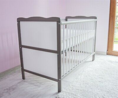 NEW WHITE-BROWN 2in1 COT-BED 120x60 no 16 - MATTRESS FREE