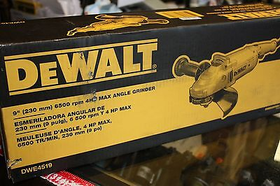 "DEWALT 9"" 6,500 RPM 4 HP Angle Grinder with Trigger Lock-On DWE4519 NEW in BOX"