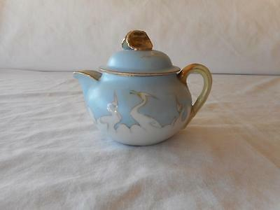 Small Nippon Hand Painted CRANES Blue Background Gold Trim Individual Teapot