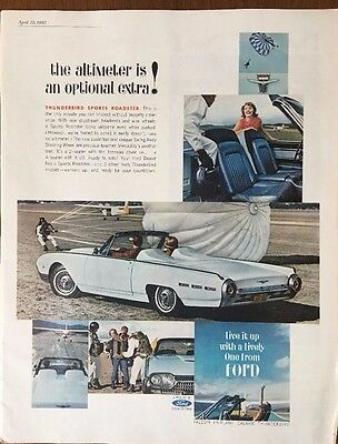 Vintage Print Ad 1962 Ford Thunderbird Sports Roadster