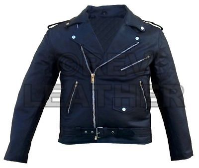 Mens Quality ARMOURED Classic Motorbike Motorcycle Brando Leather Jacket Racing