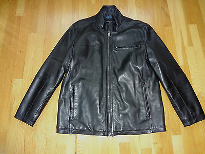 Men's Marc New York Andrew Marc Black Soft Leather Jacket Bomber in size XL