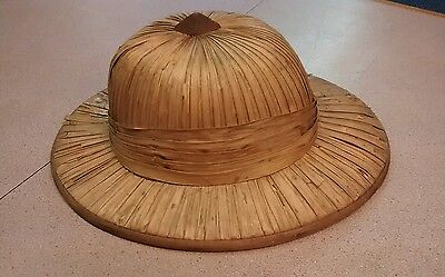 Vintage rice patty field straw hat  marked R  S Morgan 1901