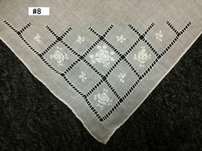 12 Pieces Hand Stitch Embroidered Embroidery Fine Linen Handkerchief Hankie #8