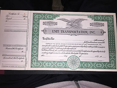 Vintage Unit Transportation Inc. Blank Capital Stock Certificate