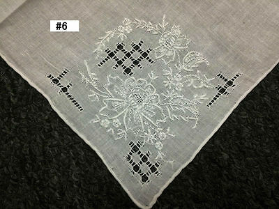 12 Pieces Hand Stitch Embroidered Embroidery Fine Linen Handkerchief Hankie #6