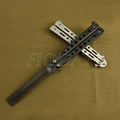 Pretty Stainless Steel Butterfly Balisong Comb Trainer Training Knife Dull Tools