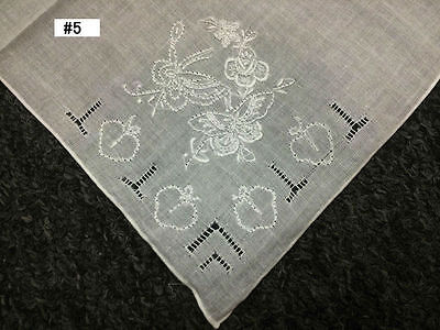 12 Pieces Hand Stitch Embroidered Embroidery Fine Linen Handkerchief Hankie #5