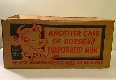 Vintage Borden's Dairy Milk Box With Elsie the Cow Advertising Grocery Store Old