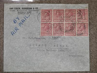 Great Britain, Scott# 167 Block of 8 on cover to Argentina, not many like this