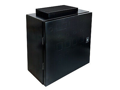 """Wall-mount Enclosure for Electric Brewery Panel, Black, 16x16x8"""", 80A heat sink"""