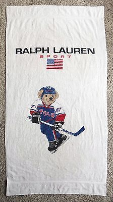 ICE HOCKEY SPORT Polo Bear Towel Teddy Beach Towel 92 Ralph Lauren vtg sweater