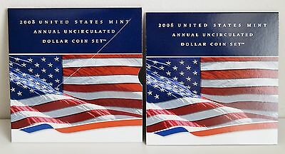2008 US Mint Annual UNC Dollar Coin Set Burnished Silver Eagle & (5) $1 Coins
