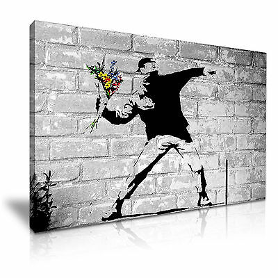 BANKSY Flower Thrower Canvas Wall Art Picture Print 76x50cm