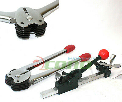 2pc Ratchet Action Poly Strapping Banding Tool Tensioner Crimper Packaging Set