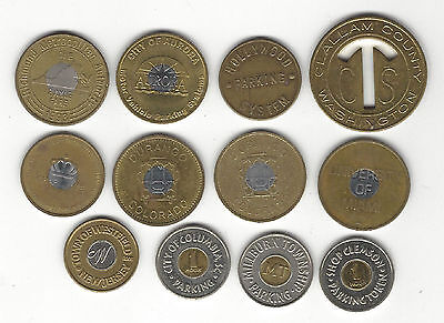 6. Lot Of 12 Mixed Locations; Vintage & Current Parking Lot Tokens Some Bi-Metal