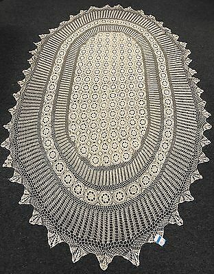 "100% Cotton Handmade Crochet Lace Tablecloths 72x126"" Oval *Beige color or white"