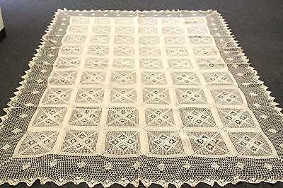 "72x90"" Beige Color 100% Cotton Handmade Crochet Rectangle Vintage Tablecloths"