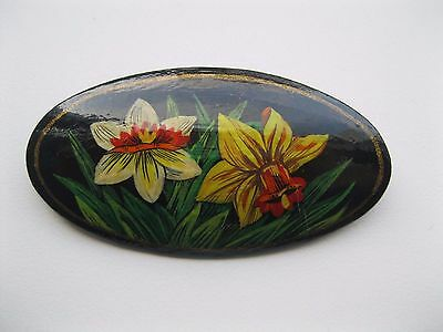 Russian  Vintage Style Wood Laquered Hand Painted Floral Brooch Black Signed
