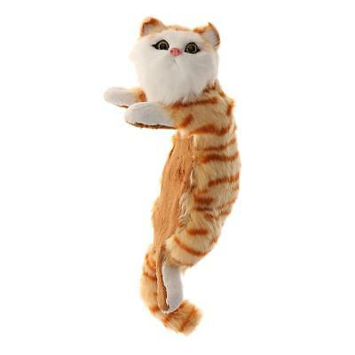 Realistic Ginger Tabby Cat Plush Faux Fur Kitten Hanging Ornament Collection