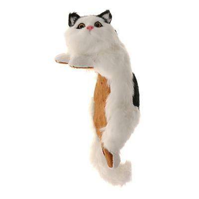 Realistic White Black Cat Plush Faux Fur Kitten Hanging Ornament Collection