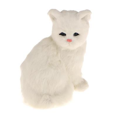Realistic Sitting Ragdoll White Cat Plush Faux Fur Kitten Decor Collection