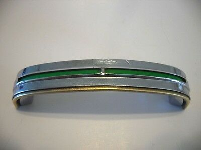 One Vintage Chrome Drawer Pull GREEN Inset Lines Cabinet Handle Stanley Art Deco