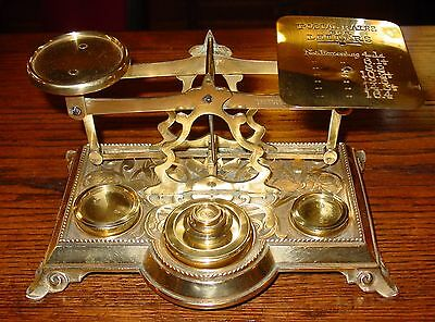 Beautiful brass desk letter postal scale--embossed flowers & weights----15295