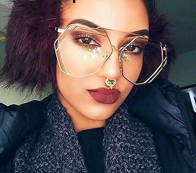 Oversized VINTAGE RETRO Aviator Style Clear Lens EYE GLASSES Hexagon Gold Frame