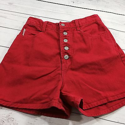 Vtg 90's BONGO Shorts Sz 7 Button Fly High Waisted Mom Red Denim Festival Summer