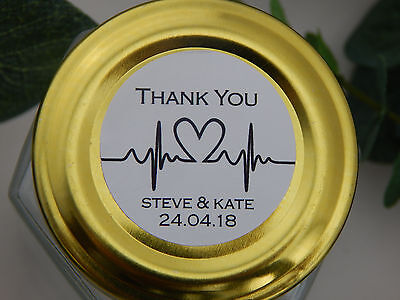 Wedding heart beat personalised thank you stickers for favours 3,4,5,6,7cm