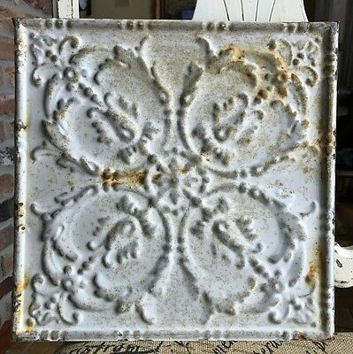 "12"" Antique Tin Ceiling Tile - Light Gray Colored Paint - Intricate Design - A1"