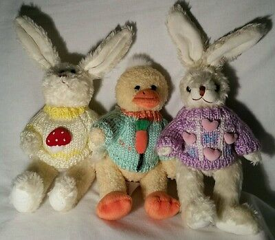 Set of 3 Hugfun Jointed Easter Bunnies and Duck w/Knitted Sweaters, 1999
