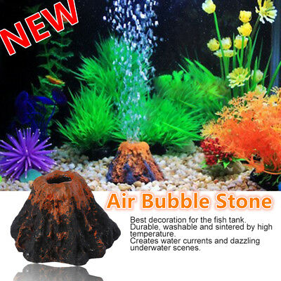 Aquarium Fish Tank Ornament Decor Volcano & Air Bubble Stone Oxygen Pump S GT