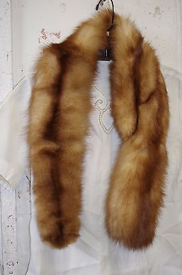 Lovely Vintage Shaded Blond & Brown Mink Fur Scarf Collar Wrap Clips Custom Made