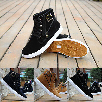 Men's High Top Fashion Casual Suede Lace Up Athletic Shoes Sneakers Canvas Boots