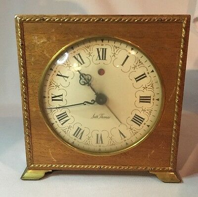 Vintage Seth Thomas Mechanical Alarm Clock Square Wooden Roman Numerial