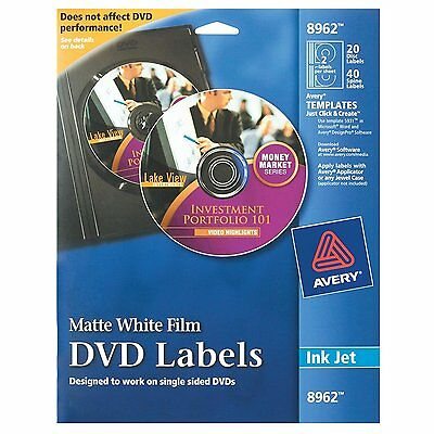 Avery DVD Labels Matte White for Ink Jet Printers 8962